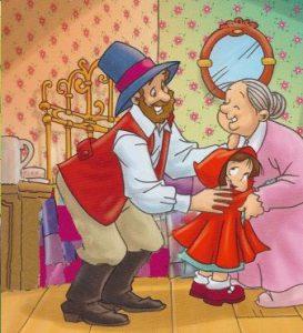 cazador, abuelita y caperucita celebra el final feliz del cuento