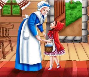 madre da consejo a caperucita